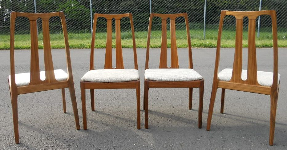 & Set of Four Retro Highback Dining Chairs by Nathan - SOLD